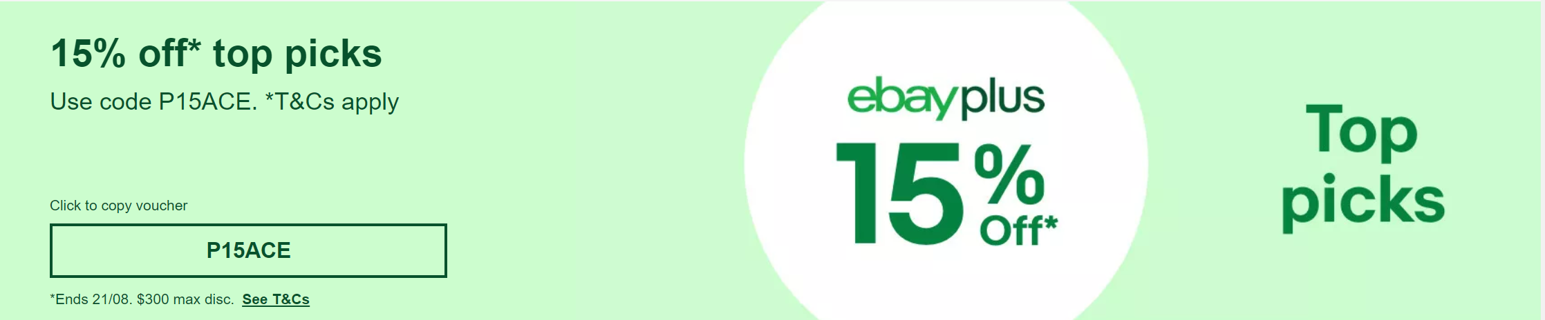 [eBay Plus] 15% off Eligible Items (Max Discount $300)