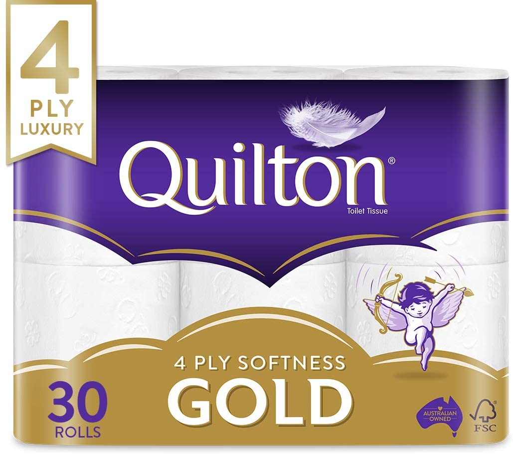 [Back in Stock] Quilton 4 Ply Toilet Tissue Gold, Pack of 30, $13.75 or $12.38 (with S&S) Delivered with Prime or $39 spend @ Amazon AU