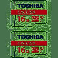 2x Toshiba Micro SDHC Memory Card 4K EXCERIA 16GB Class 10 90MB/s