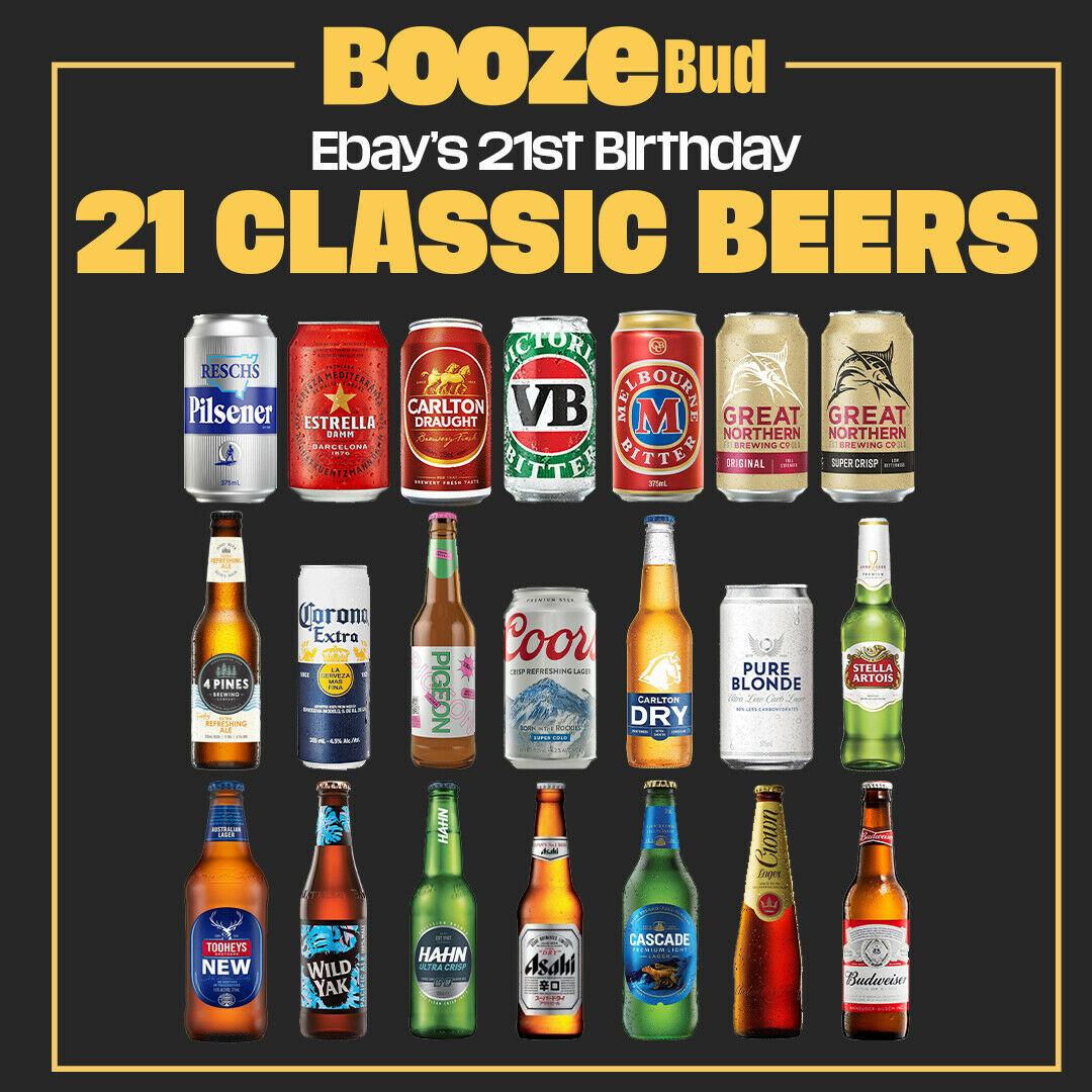 BoozeBud eBay's 21st Birthday 21 Classic Beers Mixed Case