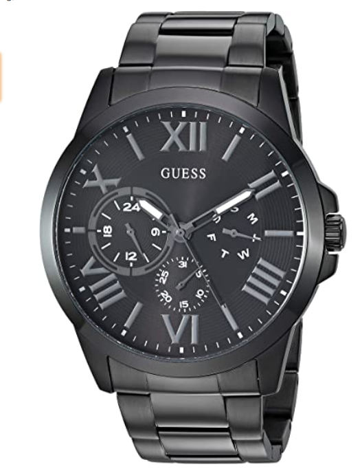 [US Deal] GUESS Stainless Steel Black Ionic Plated Bracelet Watch U1184G3