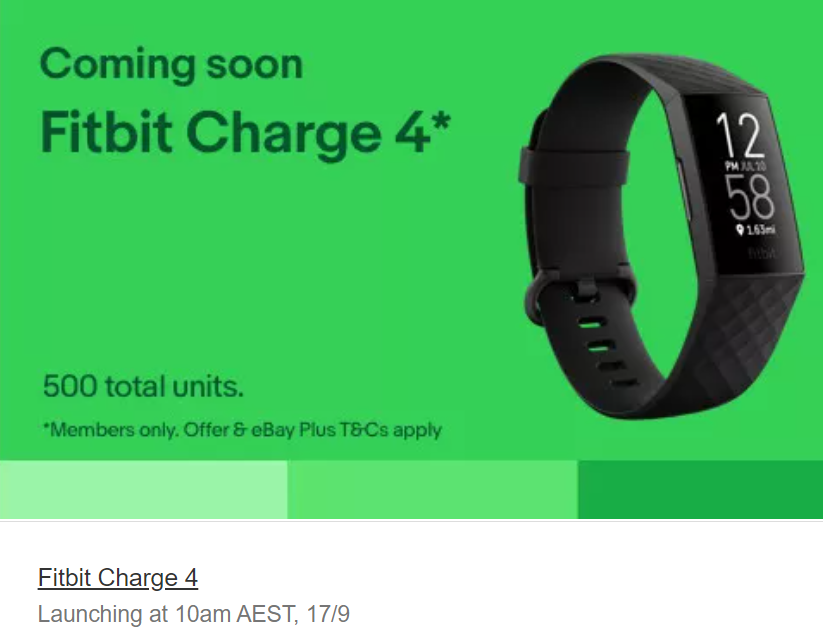 eBayPlus Daily Deals - Fitbit Charge 4 (500 units)
