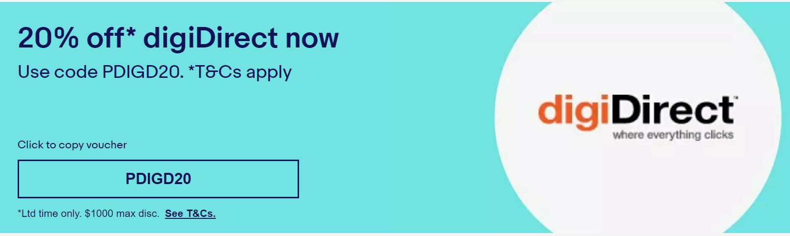 eBay DigiDirect - Extra 20% off storewide