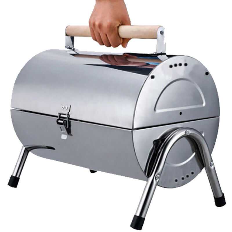 Portable Stainless Steel Barrel Charcoal Grill BBQ Outdoor Camping