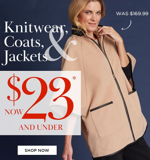 Final Chance offer | Flash Sale on Knitwear, Coats & Jackets - $23 and under (was $169.99) @ Noni B [Ends Midnight]