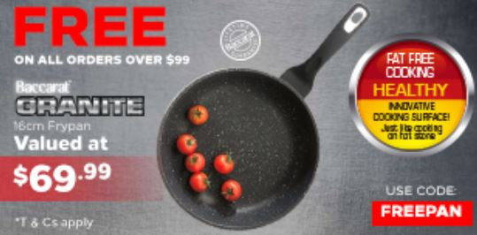 Get a Free Baccarat Granite 16cm Fry Pan worth $69 on all orders over $99 @ Robins Kitchen