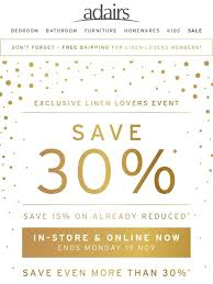 Linen Lovers Event | 30% off all full priced items @ Adairs [11-15 Nov, 2020]