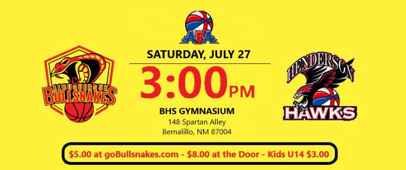 Albuquerque Bullsnakes vs Henderson Hawks