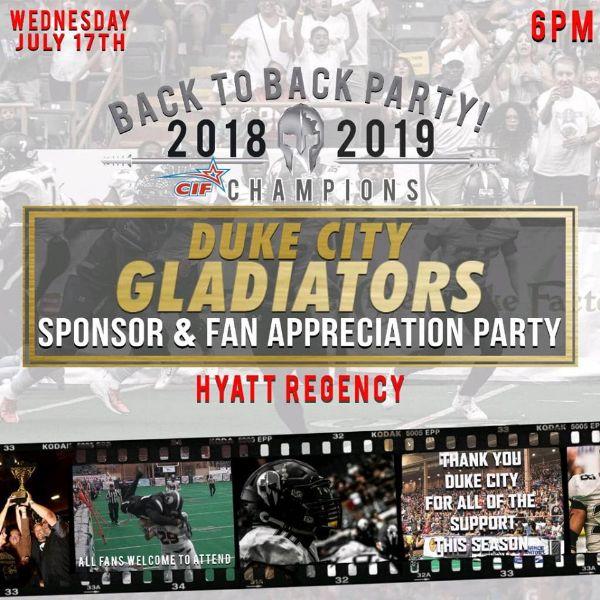 Duke City Gladiators Player & Sponsor Appreciation Party