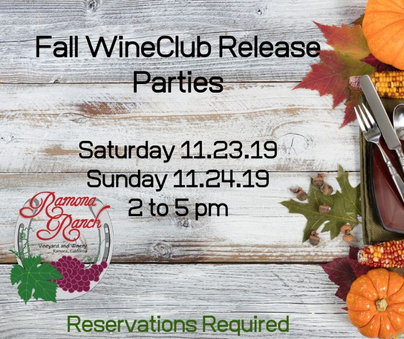 Fall WineClub Pick-up Party - Saturday, 11/23/19