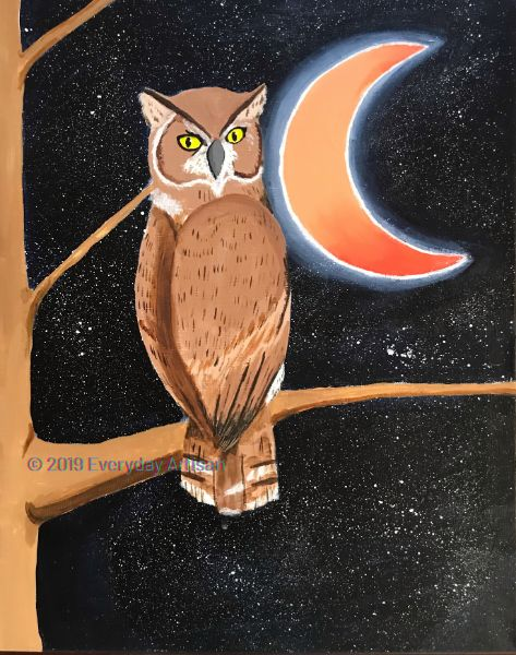 Canvas, Coffee & Confections - Cold Night with a Horned Owl