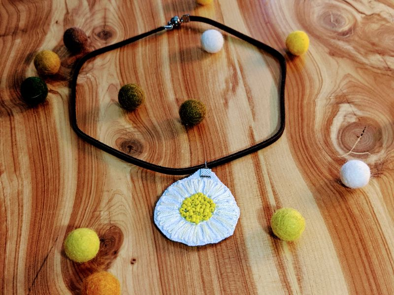 Virtual Craft Party - Embroidered Daisy Necklace