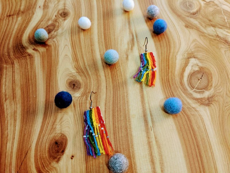 Virtual Craft Party - Embroidered Rainbow Earrings