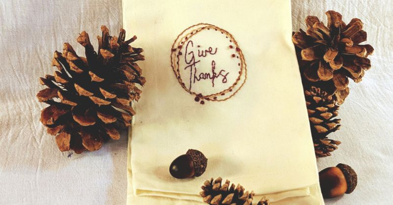 Virtual Craft Party - Give Thanks embroidery project