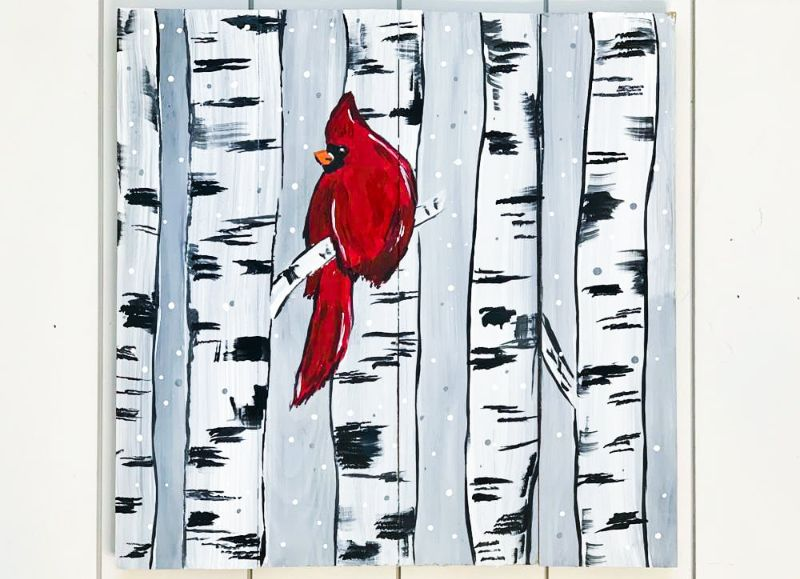 Winter Cardinal-ONLINE paint party!