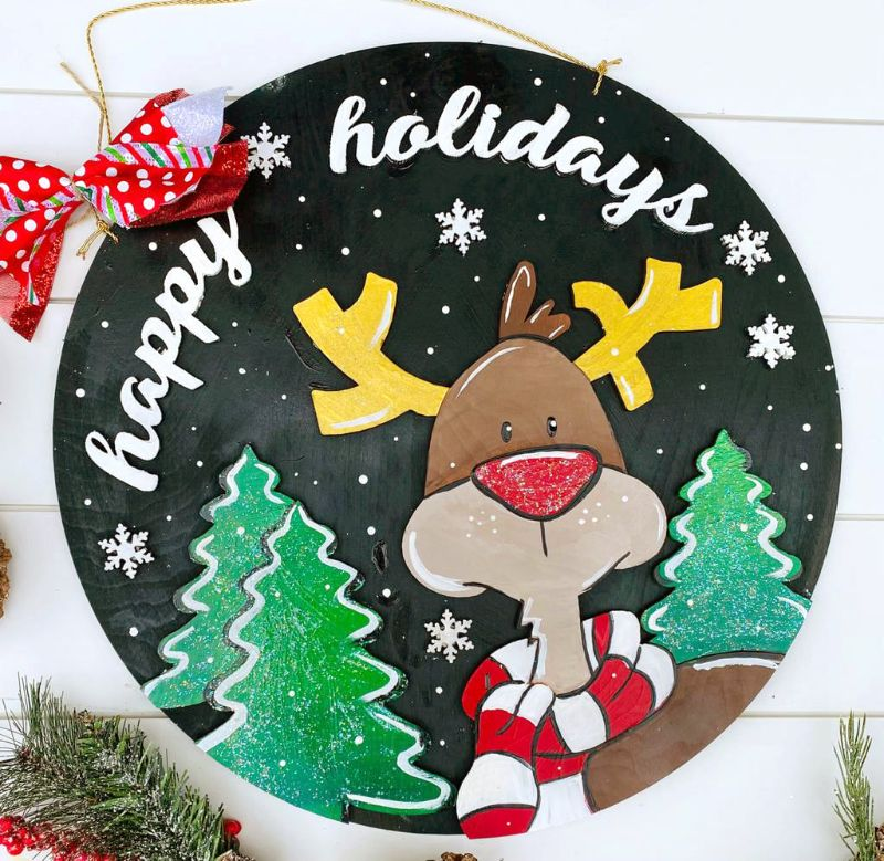 Happy Reindeer Door Hanger- ONLINE paint party
