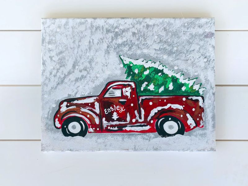 Truck and Tree (Canvas)-ONLINE paint party!