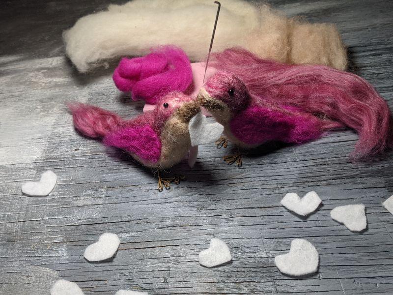 Virtual Craft Party - Needlefelt  lovebirds!