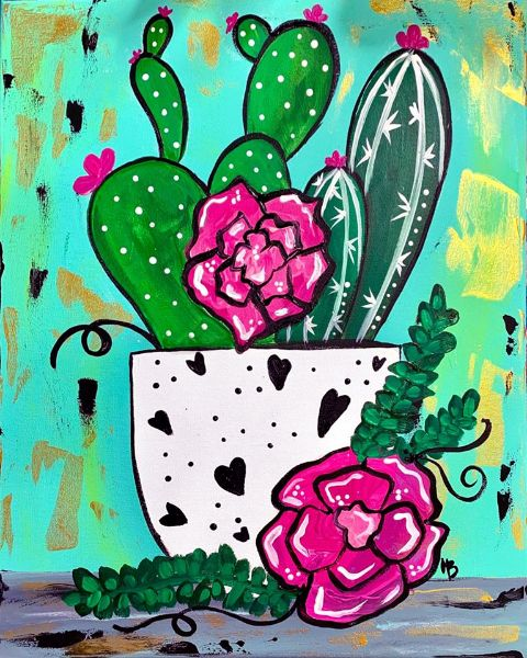 Spring Cactus- Online Paint Party