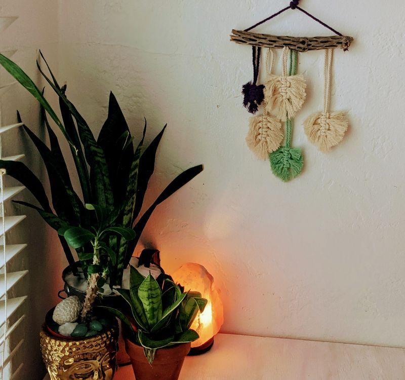 Virtual Craft Party - Spring Leaves Macramé Hanging
