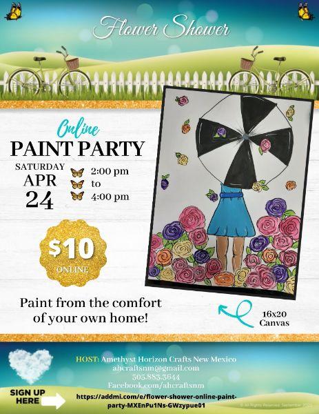 Flower Shower- Online Paint Party