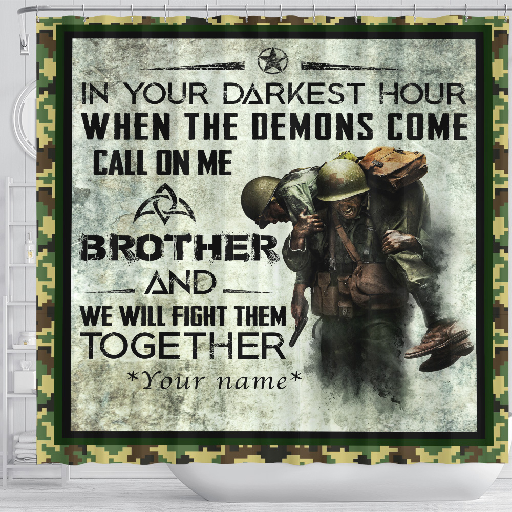 Personalized Shower Curtain 71 X 71 Inch Call On Me Brother And We Will Fight Them Together Set 12 Hooks Decorative Bath Modern Bathroom Accessories Machine Washable