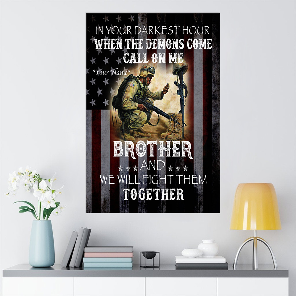 Personalized Wall Art Poster Canvas 1 Panel Call On Me Brother And We Will Fight Them Together Great Idea For Living Home Decorations Birthday Christmas Aniversary