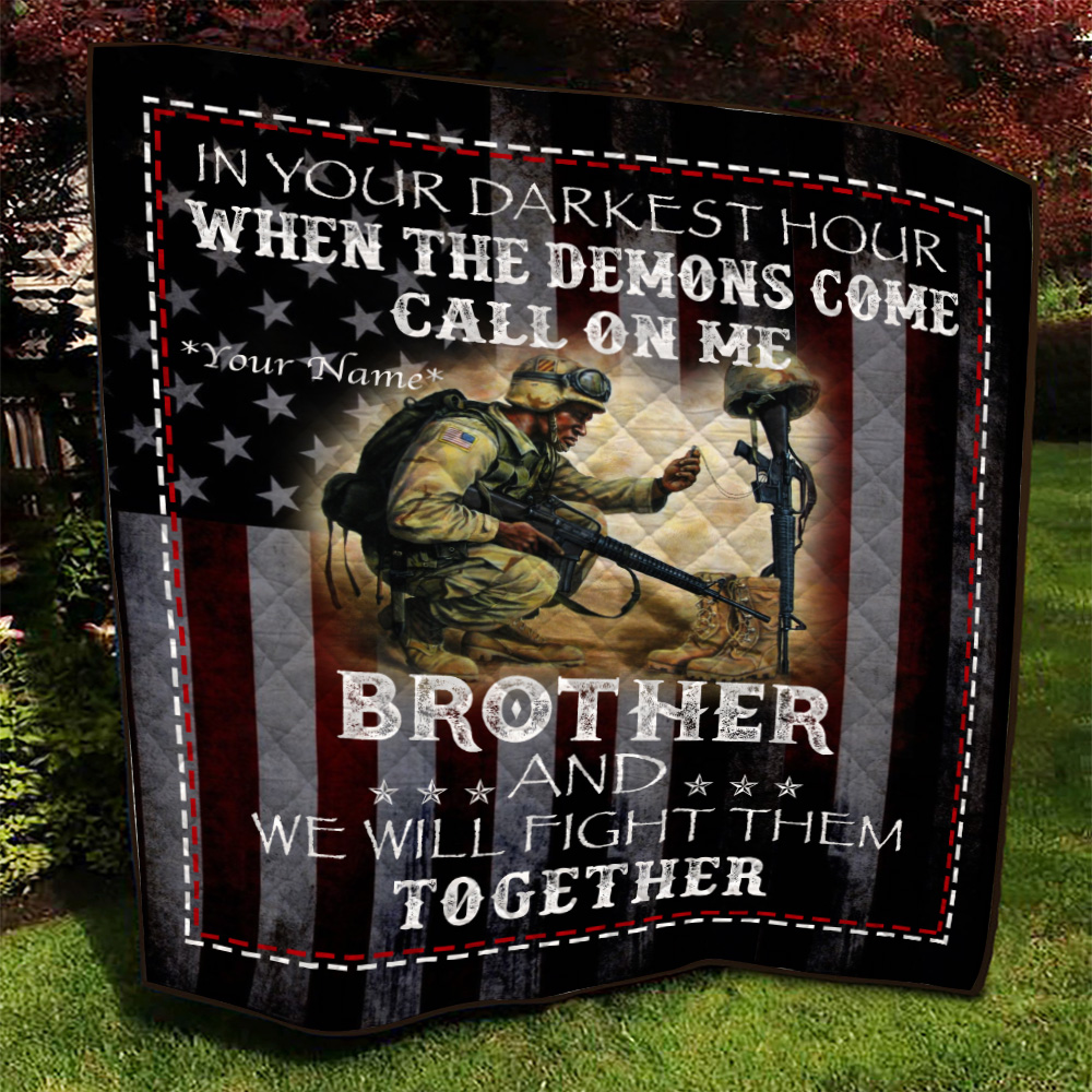 Personalized Quilt Throw Blanket Call On Me Brother And We Will Fight Them Together Lightweight Super Soft Cozy For Decorative Couch Sofa Bed