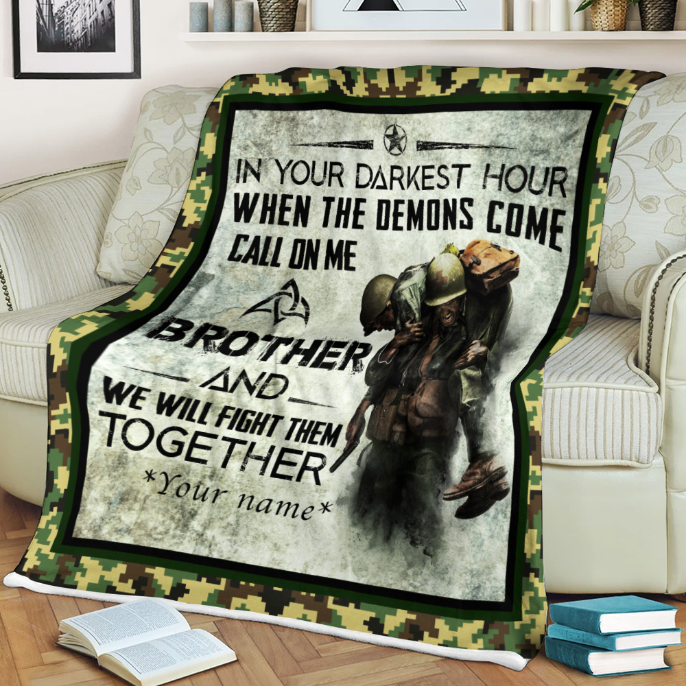 Personalized Fleece Throw Blanket Call On Me Brother And We Will Fight Them Together Lightweight Super Soft Cozy For Decorative Couch Sofa Bed
