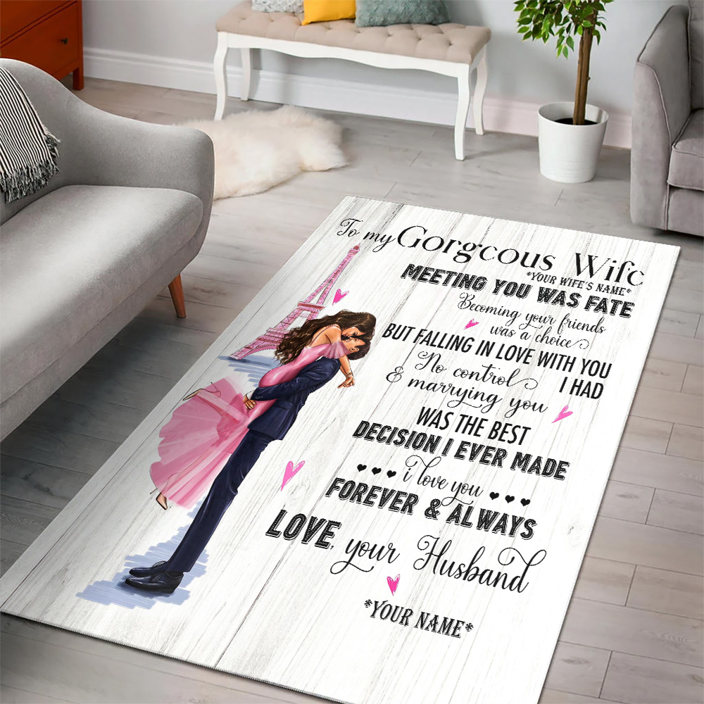 Personalized Floor Area Rugs To My Gorgeous Wife Marrying You Was The Best Decision I Ever Made Indoor Home Decor Carpets Suitable For Children Living Room Bedroom Birthday Christmas Aniversary