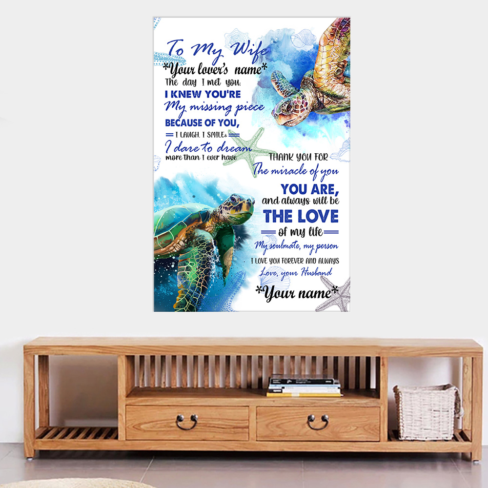 Personalized Wall Art Poster Canvas 1 Panel To My Wife You Are And Always Will Be The Love Of My Life  Great Idea For Living Home Decorations Birthday Christmas Aniversary