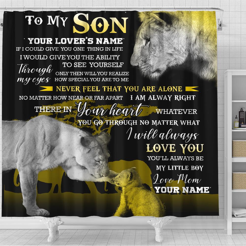 Personalized Shower Curtain 71 X 71 Inch To My Lion Son You'll Always Be My Little Boy  Set 12 Hooks Decorative Bath Modern Bathroom Accessories Machine Washable