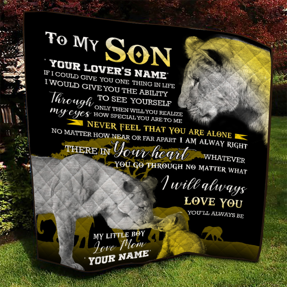 Personalized Quilt Throw Blanket To My Lion Son You'll Always Be My Little Boy  Lightweight Super Soft Cozy For Decorative Couch Sofa Bed