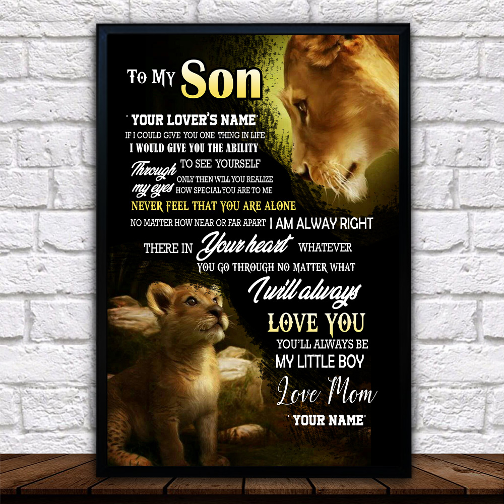 Personalized Wall Art Poster Canvas 1 Panel To My Lion Son You'll Always Be My Little Boy  Great Idea For Living Home Decorations Birthday Christmas Aniversary