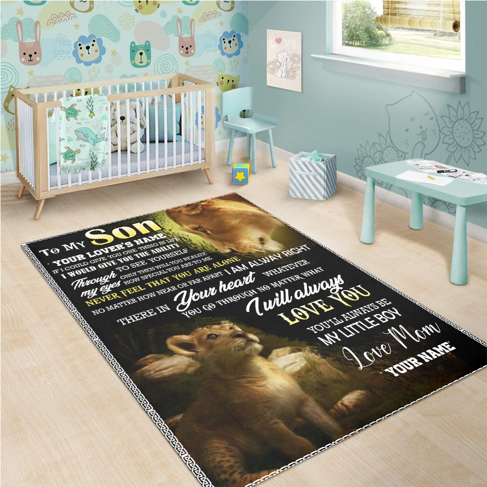 Personalized Floor Area Rugs To My Lion Son You'll Always Be My Little Boy  Indoor Home Decor Carpets Suitable For Children Living Room Bedroom Birthday Christmas Aniversary