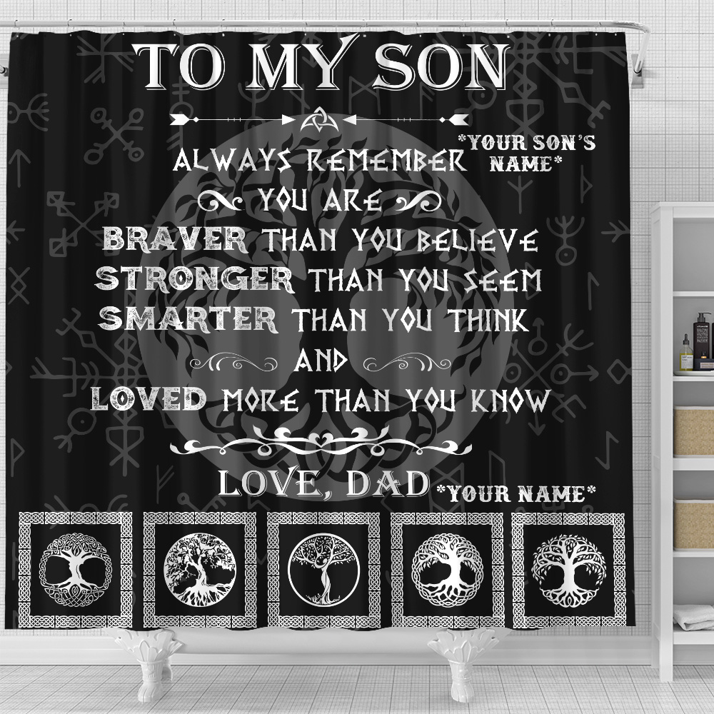Personalized Shower Curtain 71 X 71 Inch To My Son You Are Loved More Than You Know Set 12 Hooks Decorative Bath Modern Bathroom Accessories Machine Washable