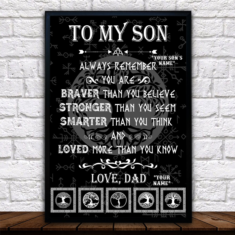 Personalized Wall Art Poster Canvas 1 Panel To My Son You Are Loved More Than You Know Great Idea For Living Home Decorations Birthday Christmas Aniversary