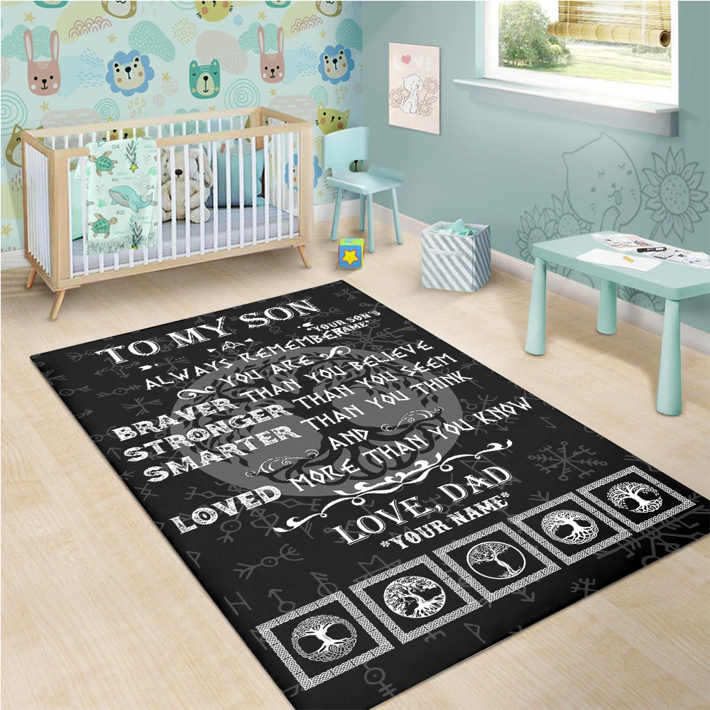Personalized Floor Area Rugs To My Son You Are Loved More Than You Know Indoor Home Decor Carpets Suitable For Children Living Room Bedroom Birthday Christmas Aniversary