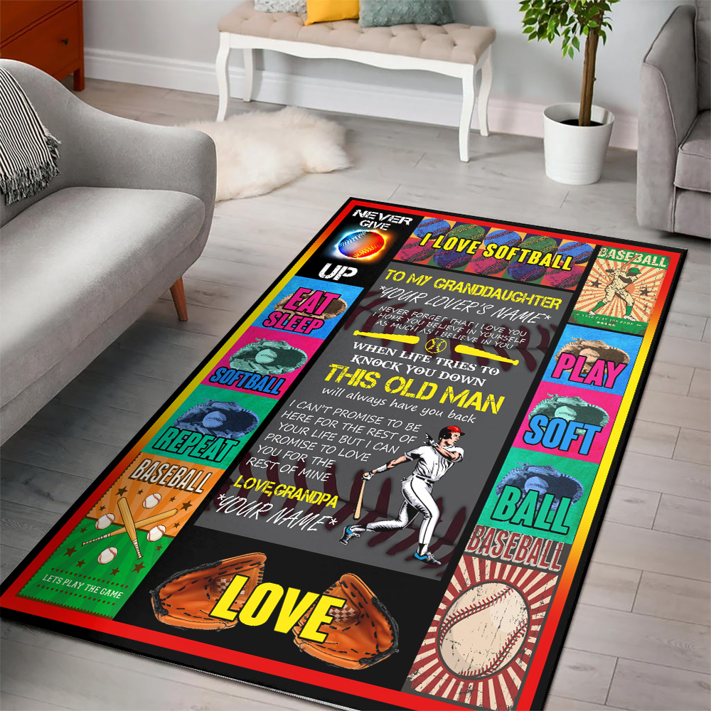 Personalized Floor Area Rugs To My Softball Granddaughter This Old Man Will Always Have Your Back From Grandpa Indoor Home Decor Carpets Suitable For Children Living Room Bedroom Birthday Christmas Aniversary