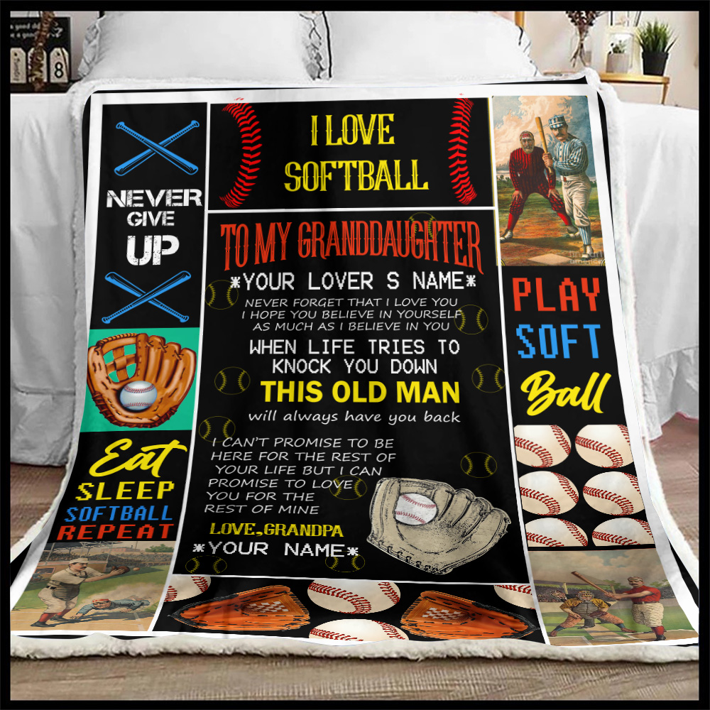 Personalized Fleece Throw Blanket To My Softball Granddaughter This Old Man Will Always Have Your Back From Grandpa Lightweight Super Soft Cozy For Decorative Couch Sofa Bed