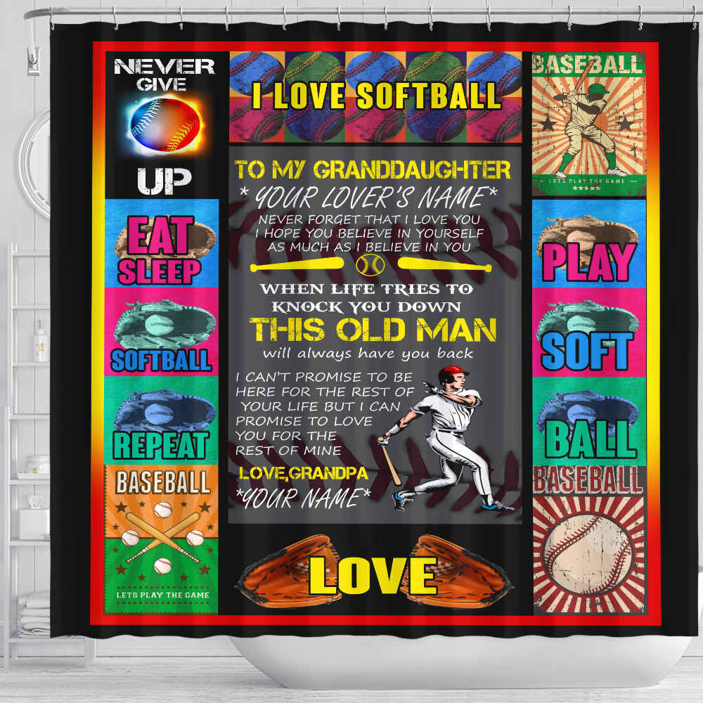 Personalized Shower Curtain 71 X 71 Inch To My Softball Granddaughter This Old Man Will Always Have Your Back From Grandpa Set 12 Hooks Decorative Bath Modern Bathroom Accessories Machine Washable