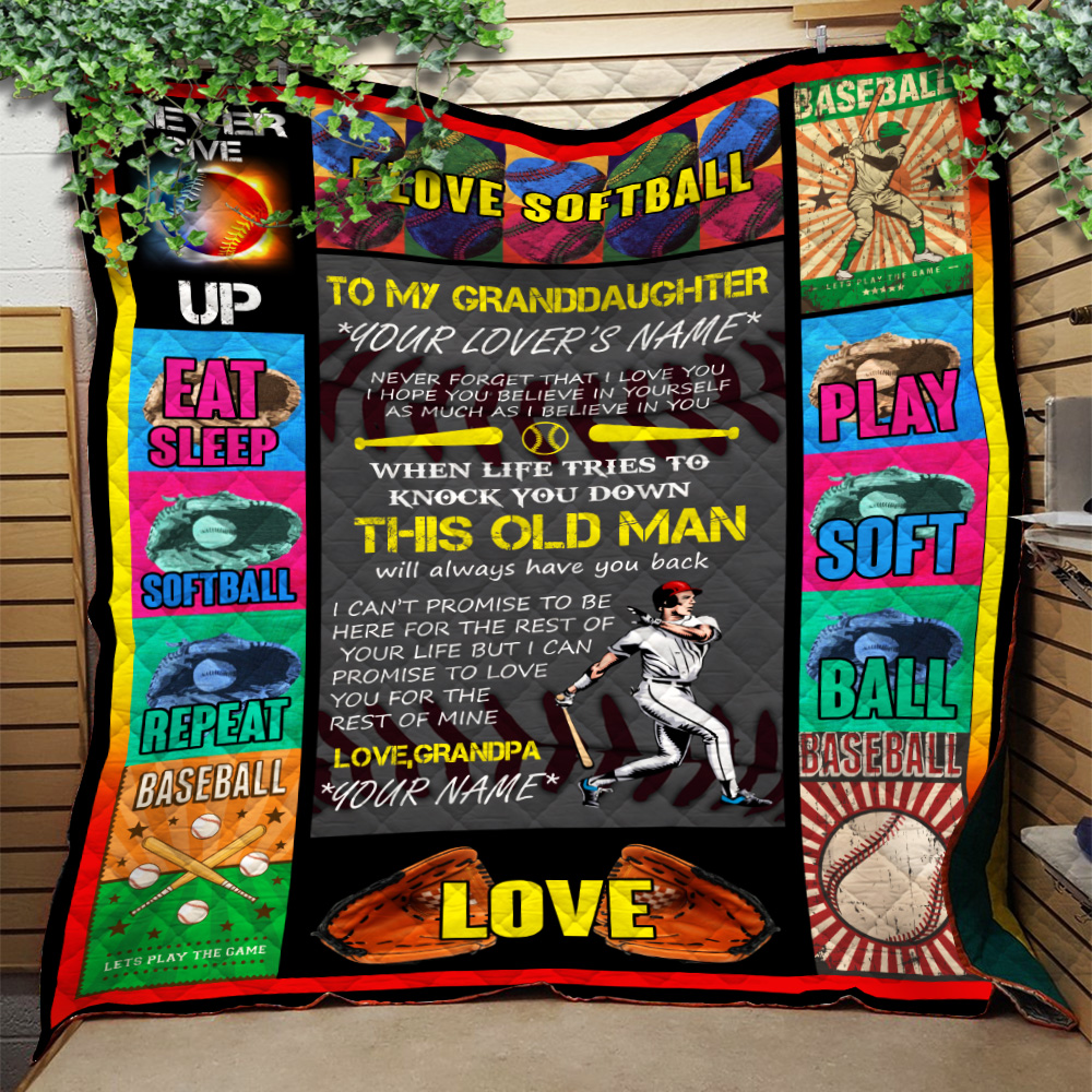 Personalized Quilt Throw Blanket To My Softball Granddaughter This Old Man Will Always Have Your Back From Grandpa Lightweight Super Soft Cozy For Decorative Couch Sofa Bed
