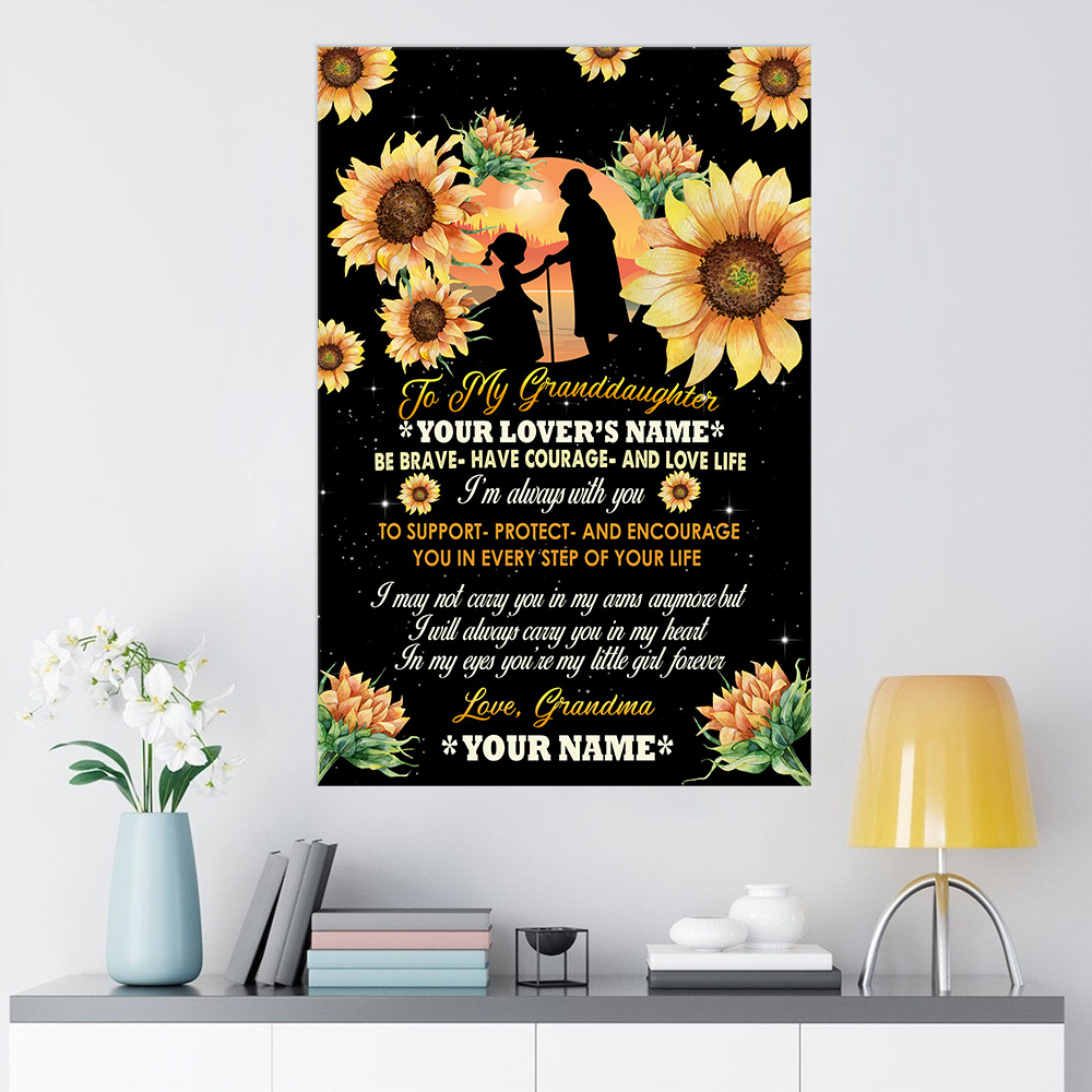 Personalized Wall Art Poster Canvas 1 Panel To My Granddaughter From Grandma Be Brave Be Courage And Love Life Great Idea For Living Home Decorations Birthday Christmas Aniversary