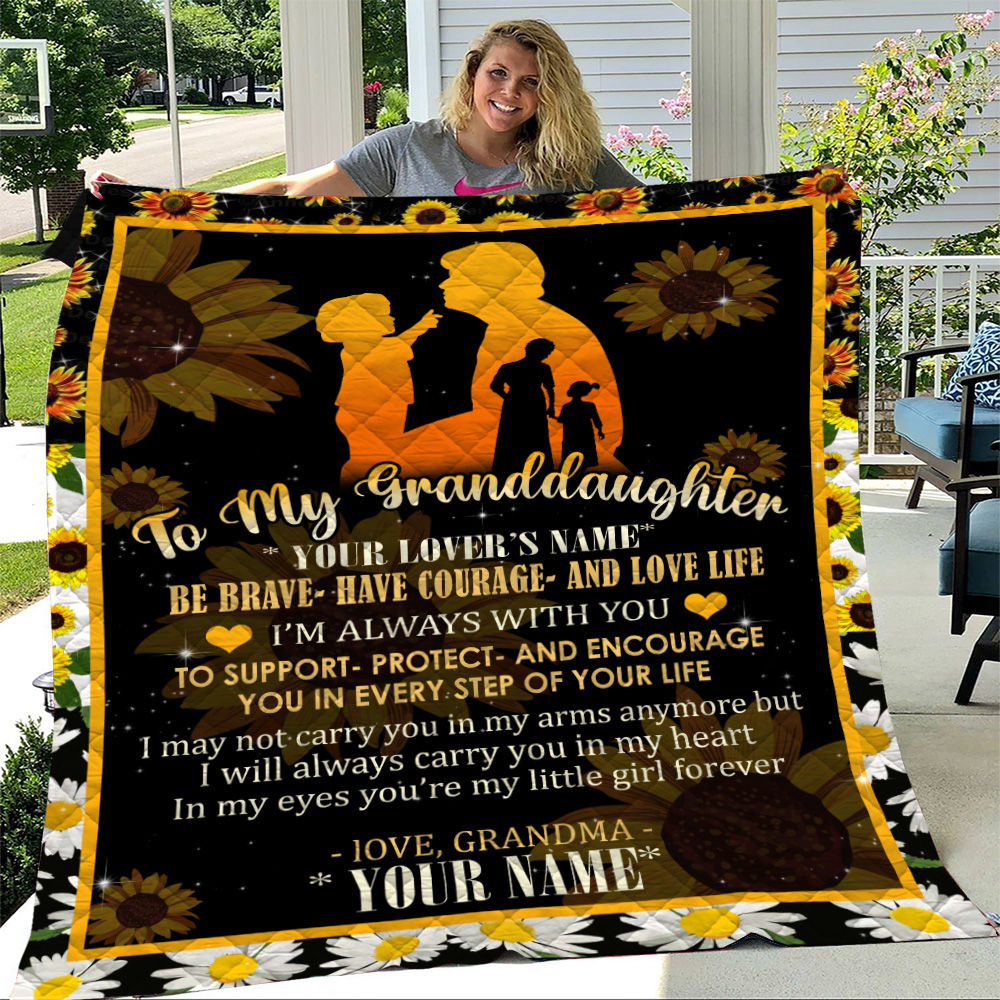 Personalized Quilt Throw Blanket To My Granddaughter From Grandma Be Brave Be Courage And Love Life Lightweight Super Soft Cozy For Decorative Couch Sofa Bed