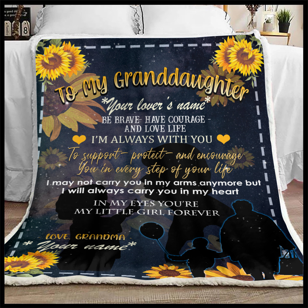 Personalized Fleece Throw Blanket To My Granddaughter From Grandma Be Brave Be Courage And Love Life Lightweight Super Soft Cozy For Decorative Couch Sofa Bed