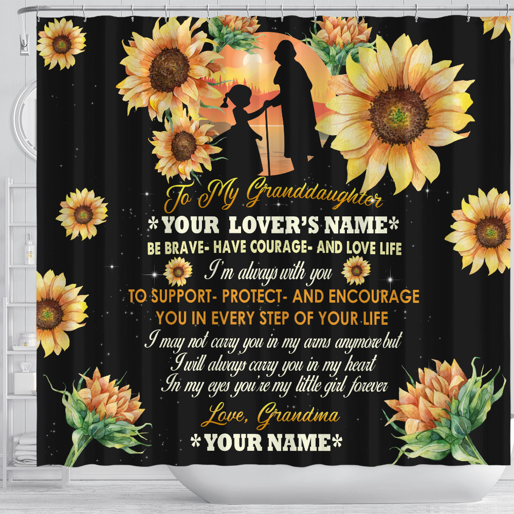 Personalized Shower Curtain 71 X 71 Inch To My Granddaughter From Grandma Be Brave Be Courage And Love Life Set 12 Hooks Decorative Bath Modern Bathroom Accessories Machine Washable