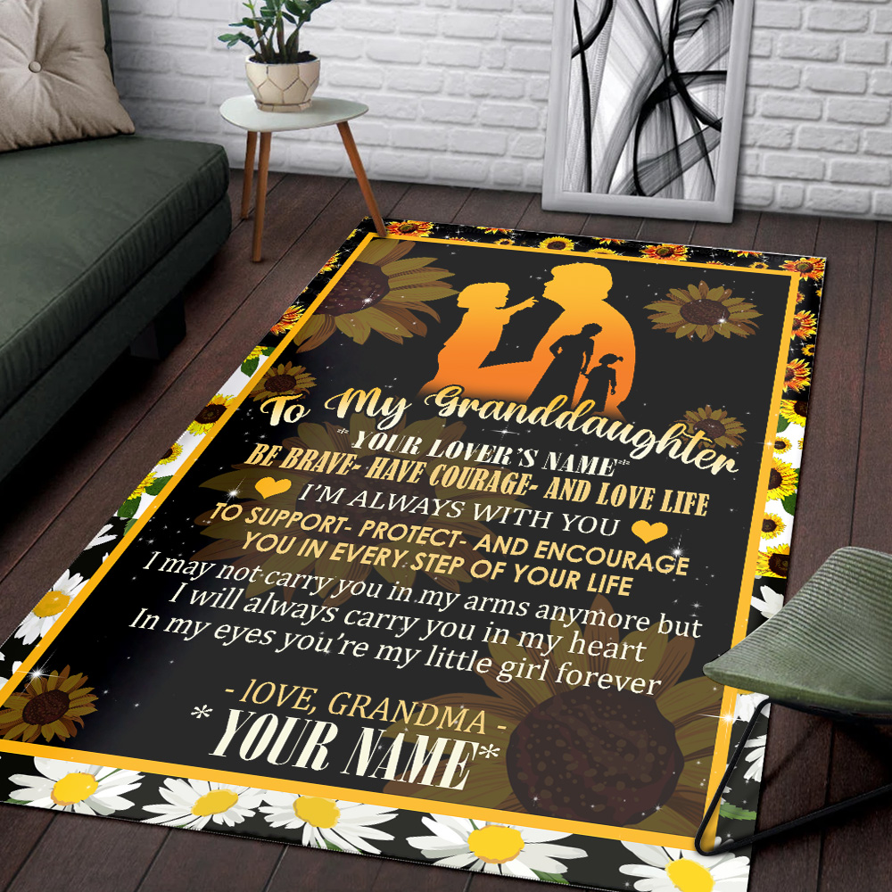 Personalized Floor Area Rugs To My Granddaughter From Grandma Be Brave Be Courage And Love Life Indoor Home Decor Carpets Suitable For Children Living Room Bedroom Birthday Christmas Aniversary