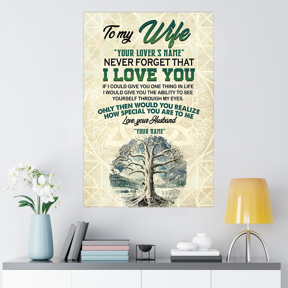 Personalized Wall Art Poster Canvas 1 Panel To My Wife Never Forget That I Love You Great Idea For Living Home Decorations Birthday Christmas Aniversary