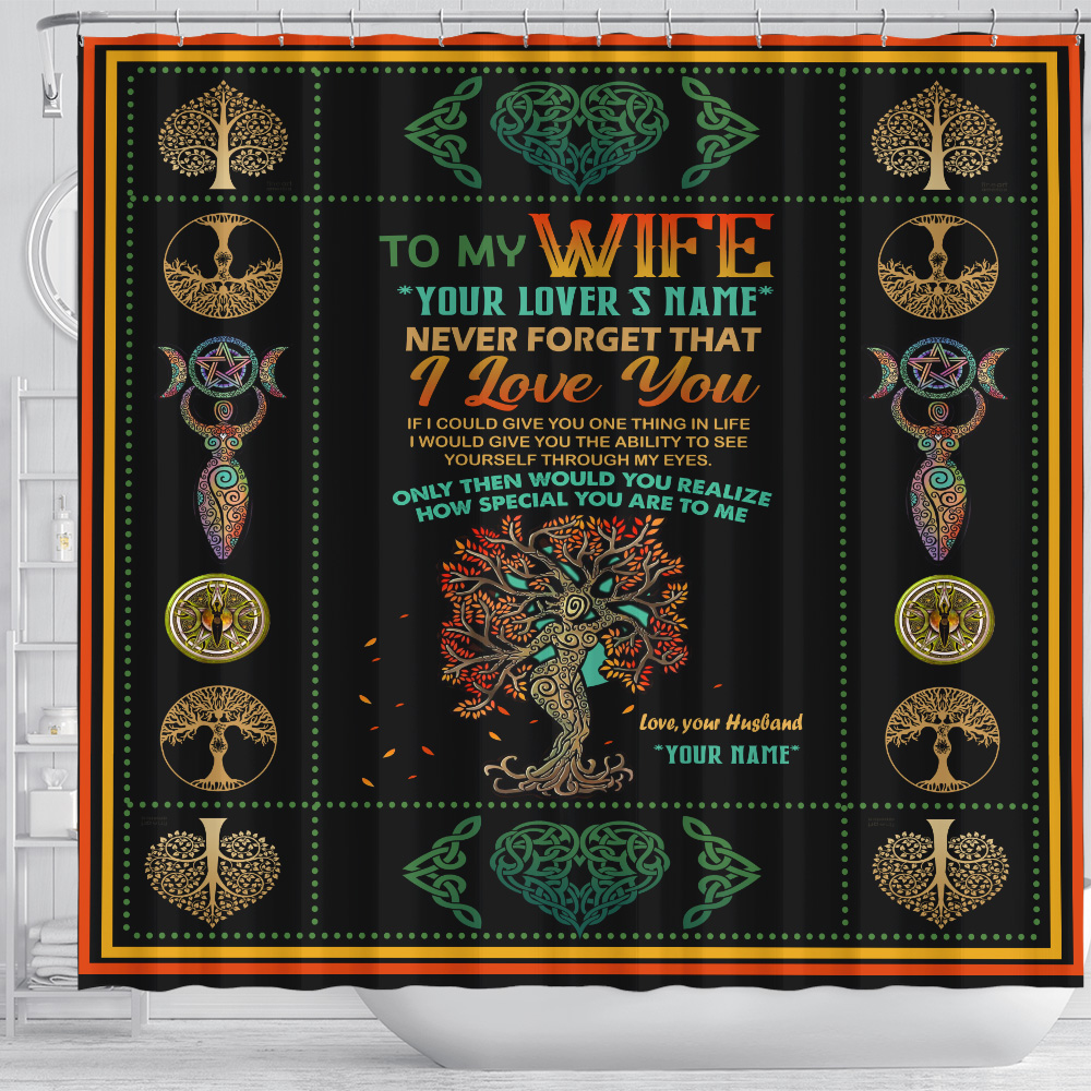 Personalized Shower Curtain 71 X 71 Inch To My Wife Never Forget That I Love You Set 12 Hooks Decorative Bath Modern Bathroom Accessories Machine Washable