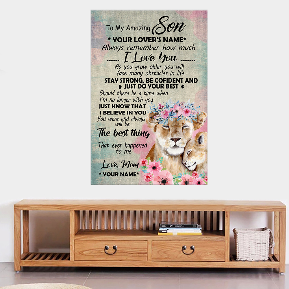 Personalized Wall Art Poster Canvas 1 Panel To My Lion Son You Were And Always Will Be The Best Thing That Ever Happened To Me Great Idea For Living Home Decorations Birthday Christmas Aniversary